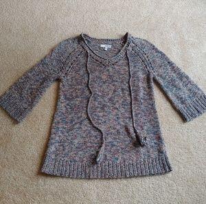 Sonoma gently worn 3/4 sleeve sweater w/tassels